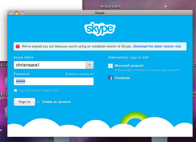 Skype перестал поддерживать старые версии OSX