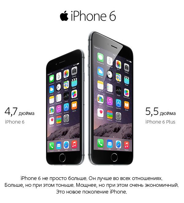 iPhone 6 с диагональю экрана 4,7 дюйма и iPhone 6 Plus с диагональю дисплея 5,5 дюймов