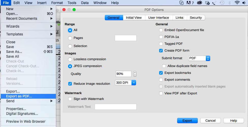 Экспорт электронной таблицы в PDF