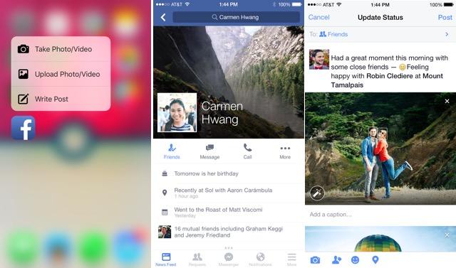 Приложение Facebook получило поддержку 3D Touch в iPhone 6s