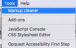 Markup cleaner в меню