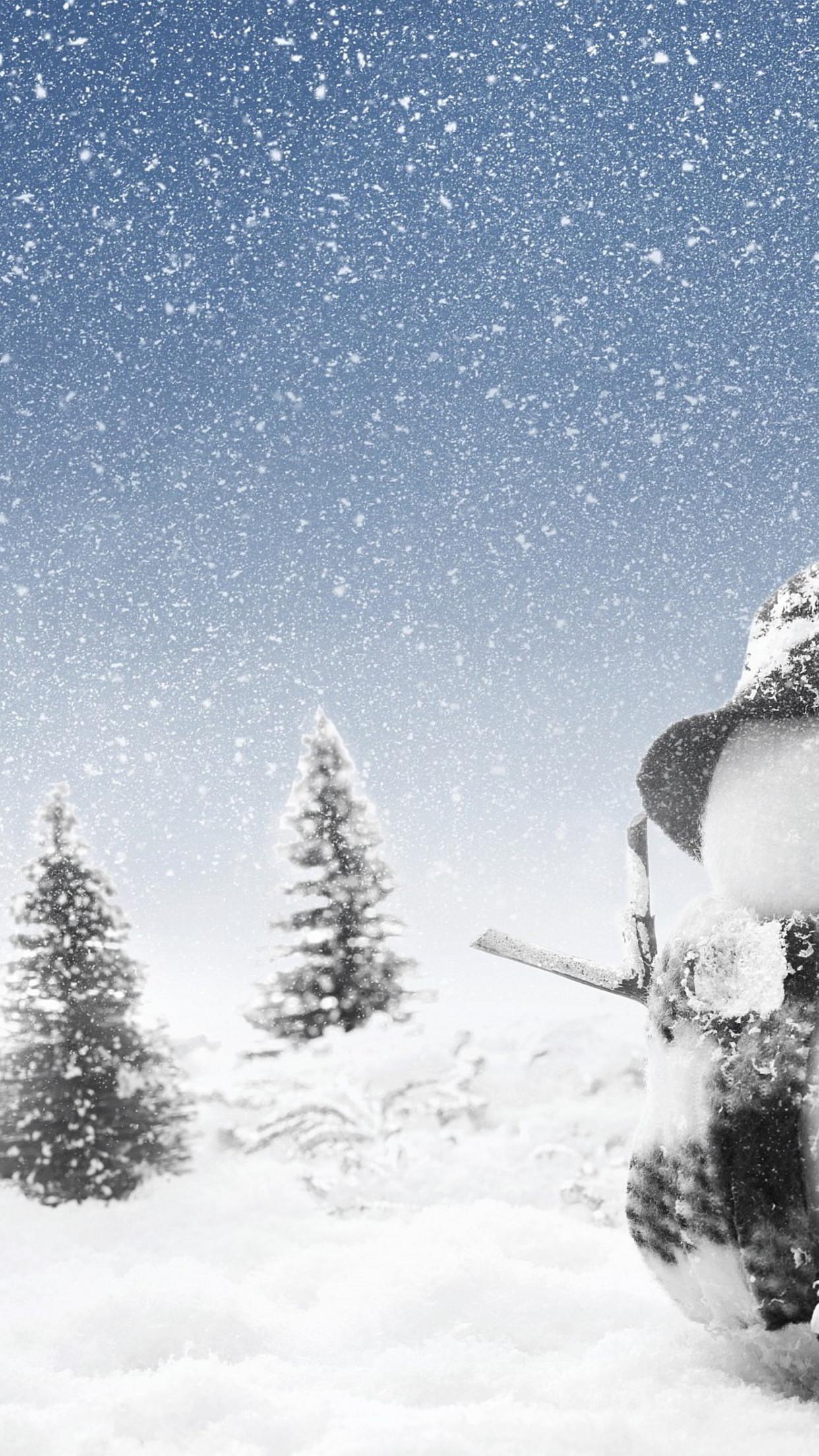 Snowman-tall-as-tree-HD-winter-wallpaper_1242x2208