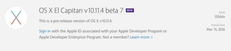 Вышла седьмая бета-версия OSX10.11.4