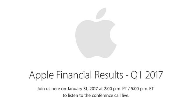 Apple отчитается запервый квартал 2017 финансового года 31января