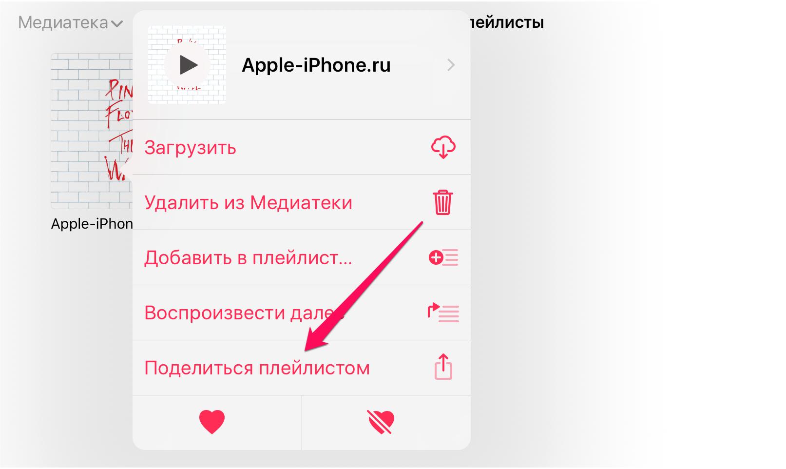 Как поделиться плейлистом изApple Music